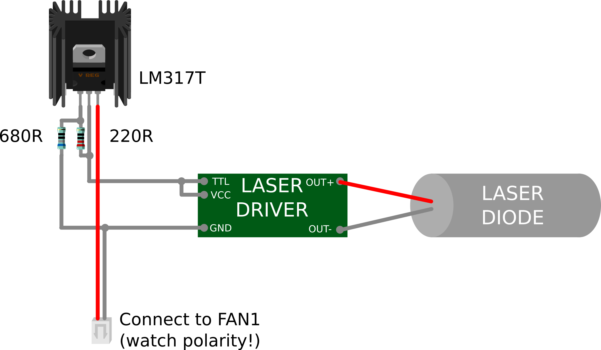 ... connected to the input of the laser driver, and the output of the laser  driver is connected to the laser diode. Below you can see the full schematic :